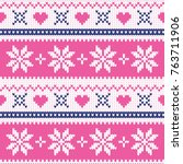 merry christmas wool knitted... | Shutterstock .eps vector #763711906