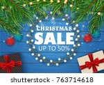 christmas sale on a beautiful... | Shutterstock .eps vector #763714618