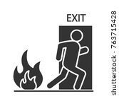 fire emergency exit door with... | Shutterstock .eps vector #763715428