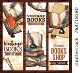 old vintage books library... | Shutterstock .eps vector #763718260