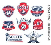 soccer club badges or football... | Shutterstock .eps vector #763719379