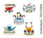 gardening tools for farm or... | Shutterstock .eps vector #763719403