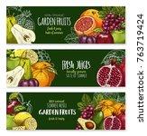 exotic tropical fresh fruits... | Shutterstock .eps vector #763719424