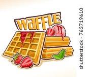 vector logo for belgian waffle  ... | Shutterstock .eps vector #763719610