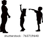 children and woman together ... | Shutterstock .eps vector #763719640
