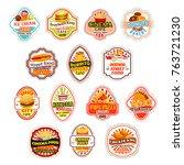 fast food restaurant icons for... | Shutterstock .eps vector #763721230