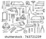 house repair work tools sketch... | Shutterstock .eps vector #763721239