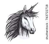 unicorn sketch icon. vector... | Shutterstock .eps vector #763722718