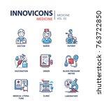 medicine   line design icons set | Shutterstock .eps vector #763722850