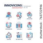 geolocation   line design icons ... | Shutterstock .eps vector #763722946