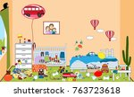 kids untidy and messy room....   Shutterstock .eps vector #763723618