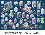 set of urban flat buildings of... | Shutterstock .eps vector #763726363