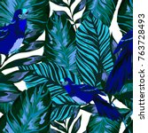 tropical seamless pattern with... | Shutterstock .eps vector #763728493