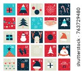 advent calendar. vector... | Shutterstock .eps vector #763729480