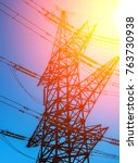 high voltage  power lines at...   Shutterstock . vector #763730938