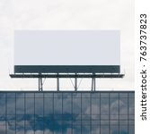 mockup of billboard on the roof.... | Shutterstock . vector #763737823