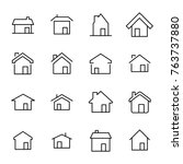 set of premium home icons in... | Shutterstock .eps vector #763737880