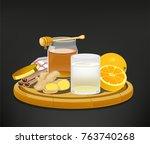 beverage that help health care. ... | Shutterstock .eps vector #763740268