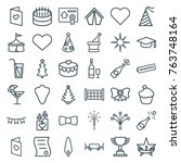 set of 36 celebration outline... | Shutterstock .eps vector #763748164