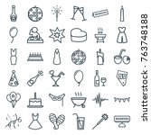 set of 36 party outline icons... | Shutterstock .eps vector #763748188