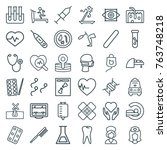 set of 36 medicine outline... | Shutterstock .eps vector #763748218