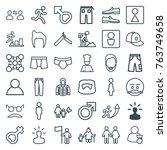 set of 36 men outline icons... | Shutterstock .eps vector #763749658