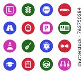 driving school icons. white... | Shutterstock .eps vector #763750384