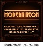 bright neon alphabet letters ... | Shutterstock . vector #763753408