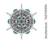 black and white mandala with... | Shutterstock .eps vector #763759594