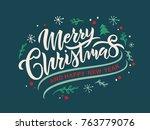 merry christmas vector text... | Shutterstock .eps vector #763779076