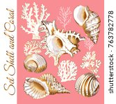 set of a gold sea shell and...   Shutterstock .eps vector #763782778