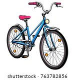 city bicycle  realistic vector. | Shutterstock .eps vector #763782856