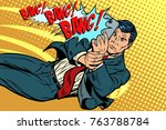 retro man takes pictures on a... | Shutterstock .eps vector #763788784