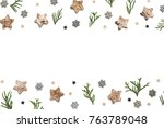 winter pattern with cypress... | Shutterstock . vector #763789048
