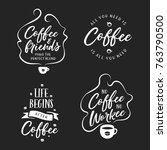 hand drawn coffee related... | Shutterstock .eps vector #763790500