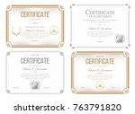 set of certificates of... | Shutterstock .eps vector #763791820