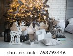 presents and gifts under... | Shutterstock . vector #763793446