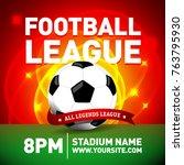 red soccer league flyer design... | Shutterstock .eps vector #763795930