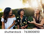 happy young female friends... | Shutterstock . vector #763800850
