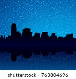 panorama of waterfront street...   Shutterstock .eps vector #763804696