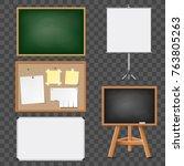 set of blank blackboard ... | Shutterstock .eps vector #763805263
