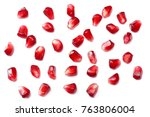 pomegranate seeds isolated on... | Shutterstock . vector #763806004