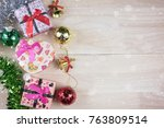 christmas background with... | Shutterstock . vector #763809514