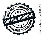 online booking text black round ... | Shutterstock .eps vector #763812310