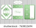 vintage invitation brochure | Shutterstock .eps vector #763812694