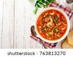 italian minestrone soup on...   Shutterstock . vector #763813270
