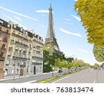 eiffel tower vector sketch.... | Shutterstock .eps vector #763813474