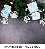 christmas fir branches  blue... | Shutterstock . vector #763814800