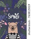 cute bear vector   Shutterstock .eps vector #763815019