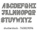black and white alphabet 3d | Shutterstock .eps vector #763819096